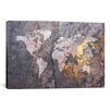 iCanvas World Map on Stone Background Graphic Art on Canvas
