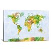 iCanvas 'World Map' by Michael Tompsett Painting Print on Canvas