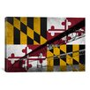 iCanvas Maryland Flag, Chesapeake Bay Bridge, Ocean Grunge Graphic Art on Canvas