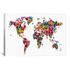 iCanvasArt 'World Map Hearts' by Michael Tompsett Graphic Art on Canvas