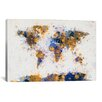 <strong>iCanvasArt</strong> 'World Map Paint Drops IV' by Michael Tompsett Painting Print on Canvas