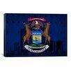 iCanvas Michigan Flag, Detroit Skyline Grunge Rivets Graphic Art on Canvas
