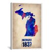 iCanvas 'Michigan Watercolor Map' by Naxart Graphic Art on Canvas