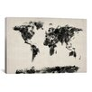 iCanvasArt 'Map of The World Paint Splashes' by Michael Tompsett Painting Print on Canvas