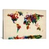 iCanvas 'Map of The World (Abstract Painting)' by Michael Tompsett Painting Print on Canvas
