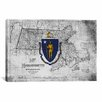 <strong>iCanvasArt</strong> Massachusetts Flag, Grunge Texture Vintage Map Graphic Art on Canvas