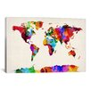 iCanvasArt 'Map of The World (Abstract Painting) II' by Michael Tompsett Graphic Art on Canvas