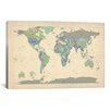 iCanvasArt 'Map of The World VI' by Michael Tompsett Graphic Art on Canvas