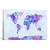 iCanvas 'Map of The World Paint Splashes V' by Michael Tompsett Painting Print on Canvas