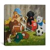 "<strong>iCanvasArt</strong> ""Let's Play Ball (Puppies)"" Canvas Wall Art by William Vanderdasson"