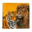 "<strong>iCanvasArt</strong> ""Lion and Tiger"" Canvas Wall Art by Harro Maass"