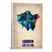 iCanvas Naxart 'London Watercolor Map II' Graphic Art on Canvas