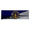iCanvas Long Beach Flag, Surfing with Wood Planks Panoramic Graphic Art on Canvas