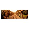 <strong>iCanvasArt</strong> Panoramic Railroad Tracks and Bridge Germany Photographic Print on Canvas