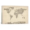 iCanvas 'Old Sheet Music World Map' by Michael Tompsett Graphic Art on Canvas