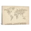 iCanvas 'Music Notes Map of The World' by Michael Tompsett Graphic Art on Canvas