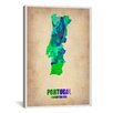 iCanvasArt 'Portugal Watercolor Map' by Naxart Graphic Art on Canvas