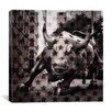 iCanvasArt Flags New York - Wall Street Charging Bull, Stars Graphic Art on Canvas in Red