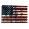 iCanvasArt One Hundred Dollar Bill, USA Flag Graphic Art on Canvas in Multi-color