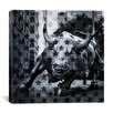 iCanvasArt Flags New York - Wall Street Charging Bull, Stars Graphic Art on Canvas in Blue