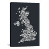 iCanvas Great Britain UK City Map by Michael Tompsett Textual Art on Canvas in Gray