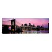 <strong>iCanvasArt</strong> Brooklyn Bridge Across The East River at Dusk, Manhattan, New York Photographic Print on Canvas in Pink