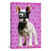 iCanvasArt Bulldog by Luz Graphics Graphic Art on Canvas in Pink