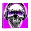 iCanvasArt Skull Sun Glasses by Luz Graphics Graphic Art on Canvas in Pink
