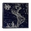 iCanvas Antique Maps North America and South America (1658) by Visscher Gaphic Art on Canvas in Negative