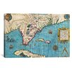 <strong>iCanvasArt</strong> 'Antique Maps of Florida and Cuba' by Jacques Le Moyne De Morgues Graphic Art on Canvas