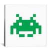 iCanvas Space Invaders Graphic Art on Canvas in Green