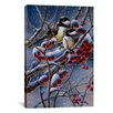 "iCanvas ""Winter Chickadees and Berries"" Canvas Wall Art by Wanda Mumm"