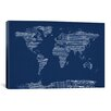 iCanvasArt World Map Sheet Music by Michael Tompsett Textual Art on Canvas in Blue