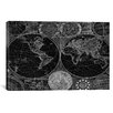 iCanvas Antique General Map of the World (1794) by Samuel Dunn Graphic Art on Canvas in Black