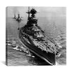 iCanvas Flags Vintage WW2 U.S. Battleships at Sea Photographic Print on Canvas in Black / White