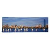 iCanvasArt Panoramic Massachusetts, Boston, Charles River, View of Boats on a River by a City Photographic Print on Canvas
