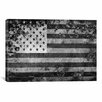 iCanvas Flags U.S.A. Grunge Graphic Art on Canvas in Black/White