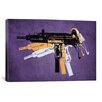 iCanvas 'Uzi Sub Machine Gun on Purple' by Michael Tompsett Graphic Art on Canvas
