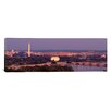 <strong>iCanvasArt</strong> Panoramic Washington, D.C, Aerial, Night Photographic Print on Canvas