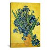 "iCanvas ""Vase with Irises Against a Yellow Background"" by Vincent Van Gogh Canvas Painting Print"