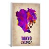 iCanvas Naxart Tokyo Watercolor Map II Graphic Art on Canvas
