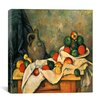 """iCanvasArt """"Still Life, Drapery, Pitcher, and Fruit Bowl"""" Canvas Wall Art by Paul Cezanne"""