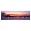 iCanvasArt Panoramic Sunset Mobile Pier Alabama Photographic Print on Canvas