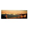 iCanvas Panoramic Suspension Bridge Lit up at Dusk, Golden Gate Bridge, San Francisco Bay, San Francisco, California Photographic Print on Canvas