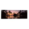 iCanvasArt Panoramic Sunset over Hotel Pool, Lombok, West Nusa Tenggara, Indonesia Photographic Print on Canvas