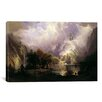 iCanvasArt 'View of Rocky Mountains' by Albert Bierstadt Painting Print on Canvas
