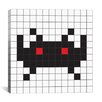 <strong>iCanvasArt</strong> Space Invader - Black Tile Art Canvas Wall Art
