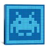 <strong>iCanvasArt</strong> Space Invader - Blue Invader Tile Art (Light Blue and Blue) Canvas Wall Art