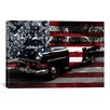 iCanvasArt Vintage Polics Cops Car, American Flag Graphic Art on Canvas