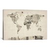 iCanvas Vintage Postcard World Map by Michael Tompsett Graphic Art on Canvas